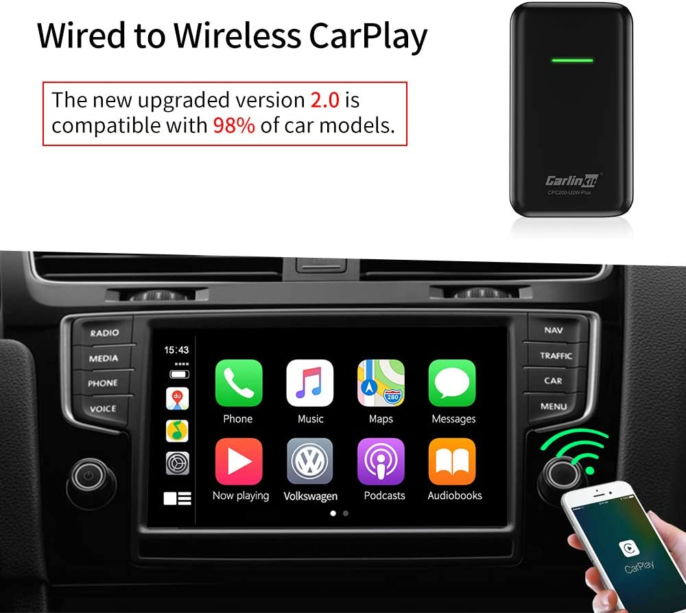 CarlinKit 2.0 Wireless CarPlay Adapter Dongle for Factory Wired CarPlay Cars (Model Year: 2017 2018 2019 ). Convert Wired to Wireless CarPlay, Cplay 2air Black