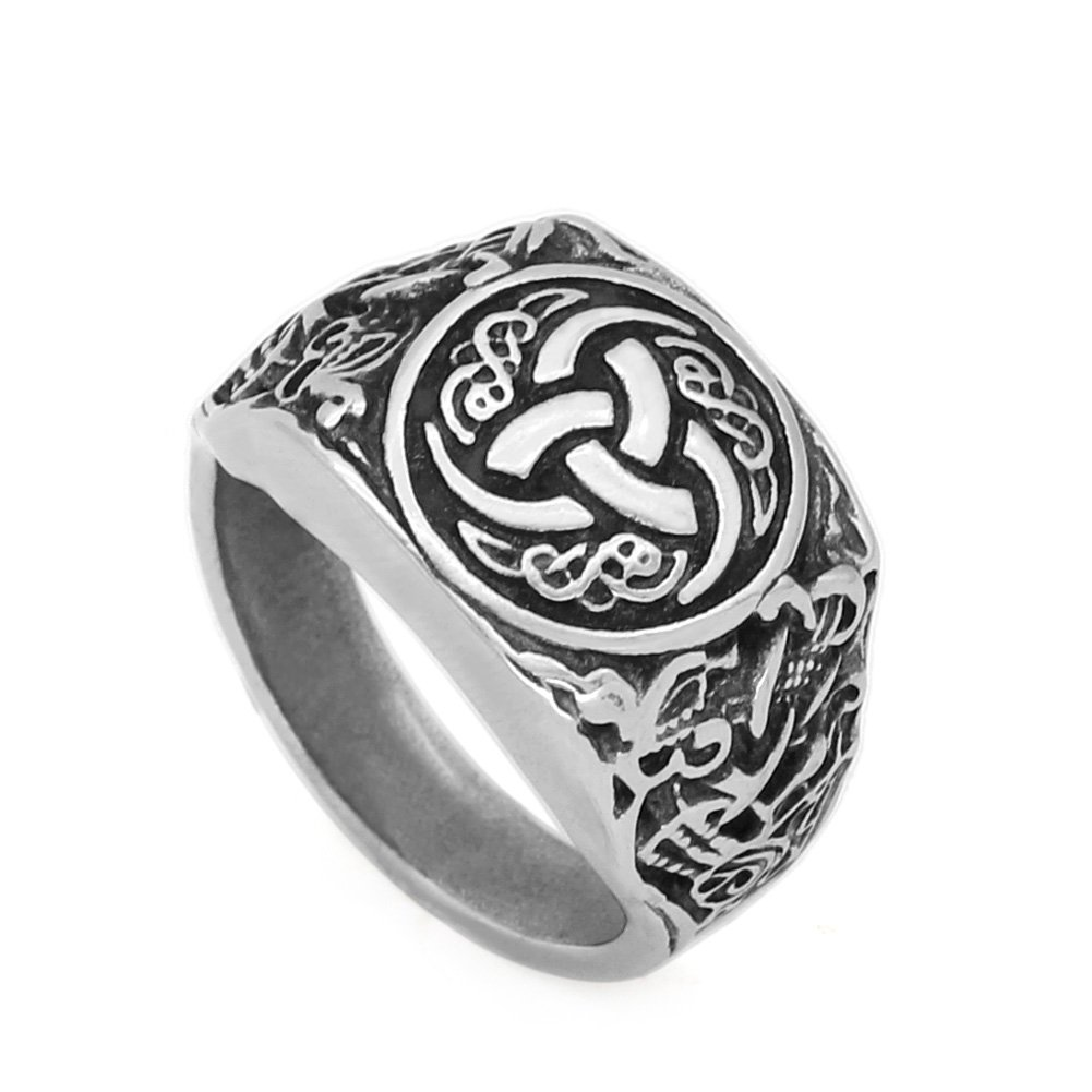 GuoShuang Nordic viking knot dragon stainless steel amulet Scandinavian ring with viking gift bag