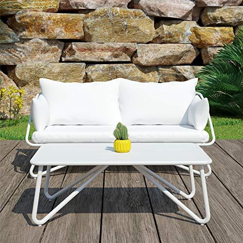 Novogratz 88062WHTE Poolside Teddi Outdoor Loveseat and Coffee Table, White