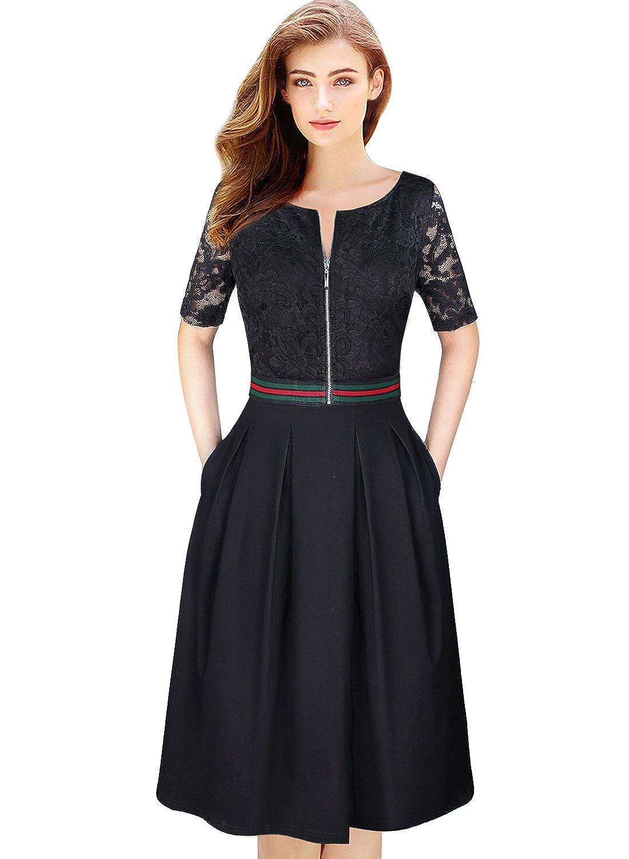 Black VFSHOW Womens Floral Lace Print Zip Up Pocket Cocktail Party ALine Dress