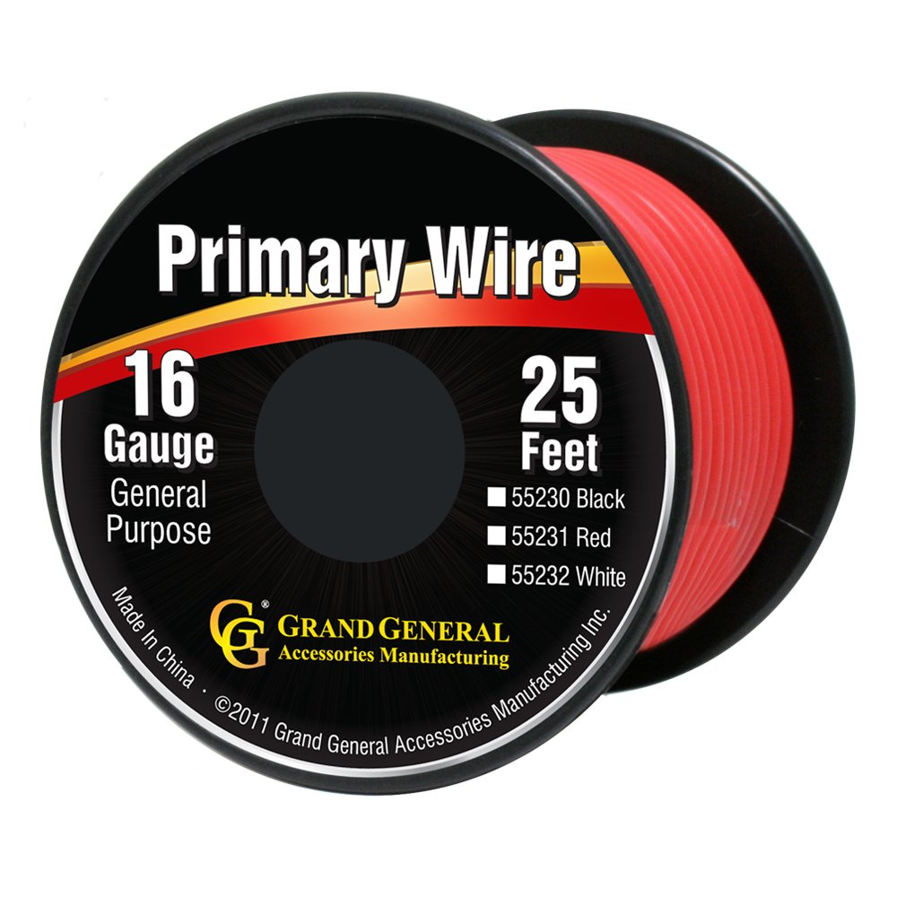 Amazon.com: Grand General 55231 Red 16-Gauge Primary Wire: Automotive
