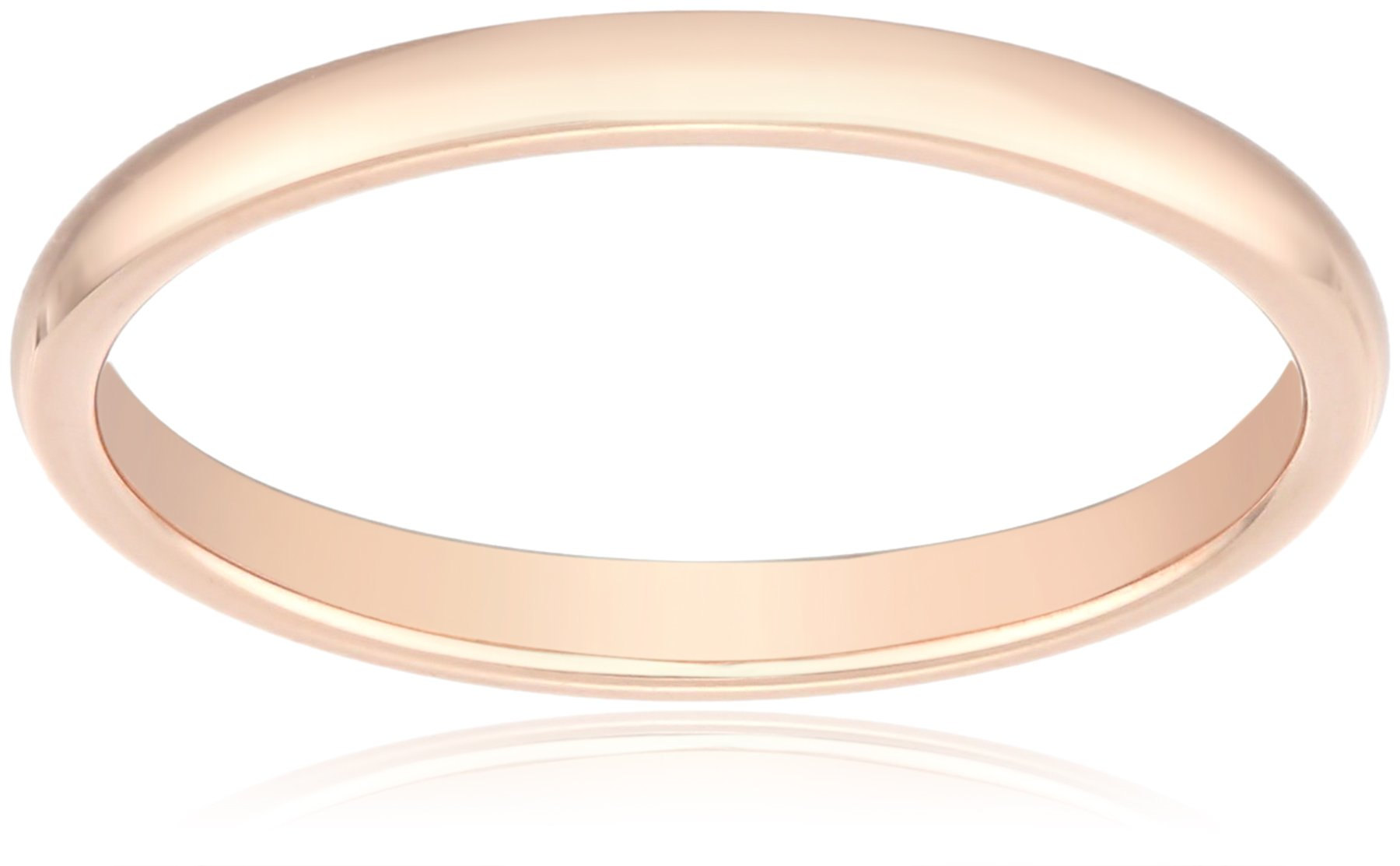 Classic Fit 14K Rose Gold Band, 2mm, Size 10