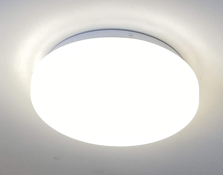 CGC Ópalo blanco redondo Interior al aire libre Luz de techo de pared Mampara 13W 800lm 4000K AC220-240V IP44 26cm Ideal para baño Porche Hall Dormitorio Cocina Jardín al aire libre: Amazon.es: