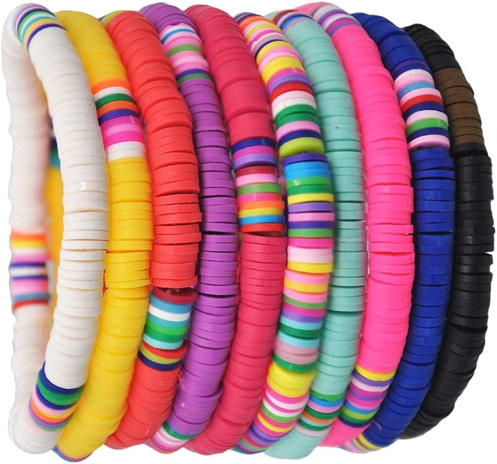 HEALLILY 10Pcs Bracelets Boh/èmes en Argile Polym/ère Bracelet Arc-en-Ciel Bracelets Damiti/é Corde /Élastique Bracelet Heishi pour La Plage D/ét/é Conceptions Assorties