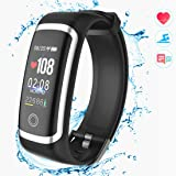 Fitness Tracker HR, Activity Tracker Smart Wristband with Pedometer Heart Rate Blood Pressure Monitor Sleep Monitor IP67 Waterproof Call SMS SNS Alert for Men Women Kids Compatible for Android IPhone