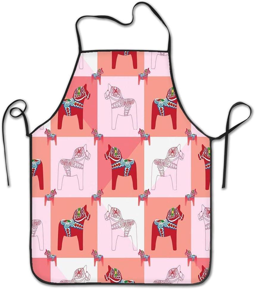 qidushop - Delantal de Chef para Mujer, diseño de Caballo, Cuadrado, sin Costuras, Color Rojo y Rosa
