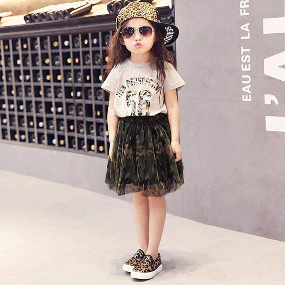 Kids Girls Outfits Summer Clothes Letter Casual T-Shirt Tops+Camouflage Tulle Skirt Set,Grey-3-4Years 3-8Years