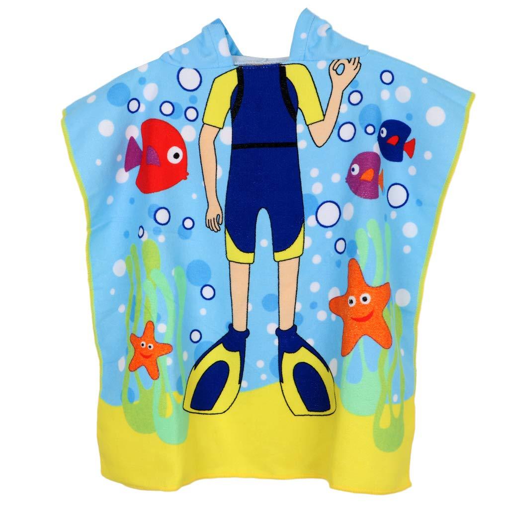 perfk Kinder Badetuch Robe Schwimmen Poncho Umkleidehilfe Bademantel Strandtuch Badeponcho f/ür Jungen M/ädchen