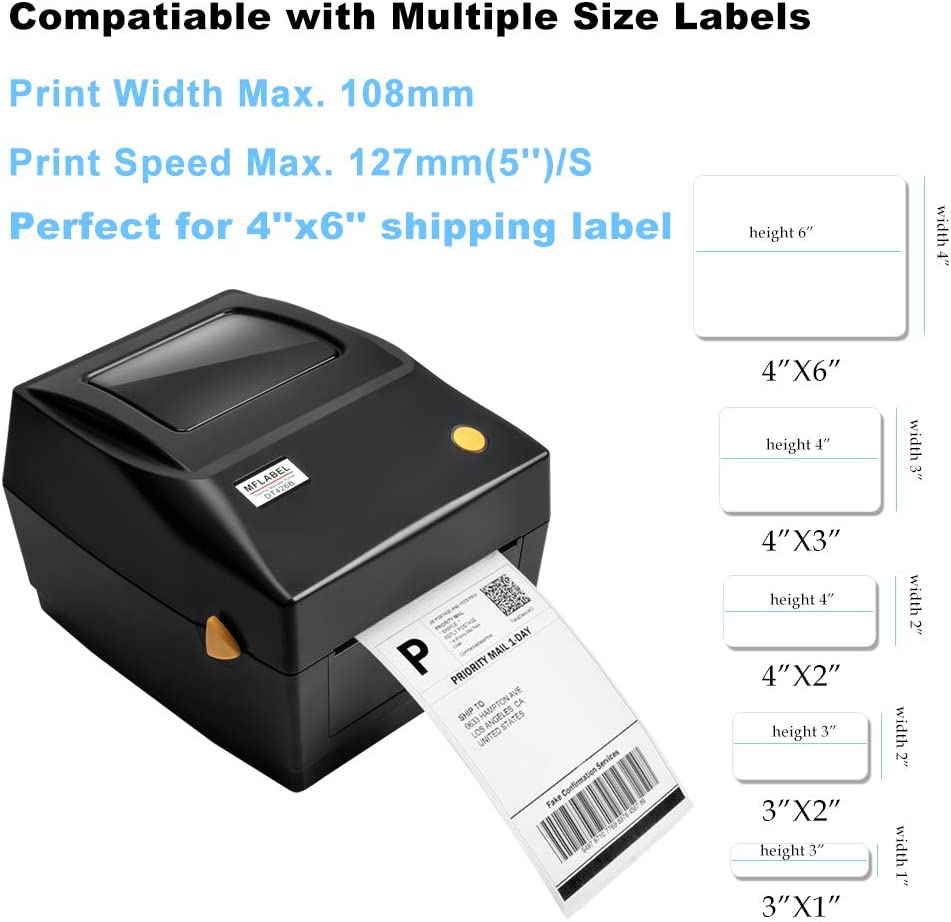 MFLABEL Label Printer, 4x6 Thermal Printer, Commercial Direct Thermal High Speed USB Port Label Maker Machine, Etsy, Ebay,  Barcode Express Label Printing : Electronics