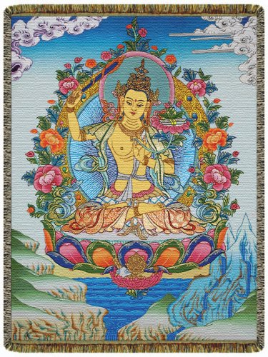 Manjushri Buddha of Wisdom Tapestry Throw Blanket