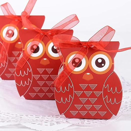50pcs Cajas de Caramelos Dulces Bombones Cajas de Papel para Regalo Recuerdos Invitados de Boda Bautizo Comunión Fiesta Cumpleaños Decoración Forma Búho con Cintas: Amazon.es: Hogar