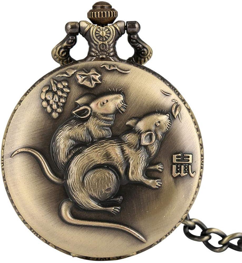 SUZHENA Reloj de Bolsillo Full Hunter Retro Chinese Zodiac Rat Design Colgante Reloj Antiguo Collar de Bronce Reloj Cadenas Fob