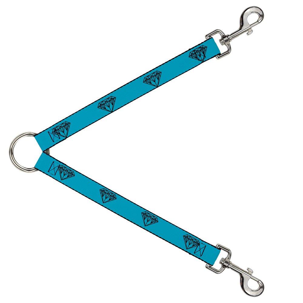 Buckle-Down DLS-W30475-W Leash Splitter-Diamond Sketch Turquoise Black, 1.5  W-30  L