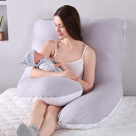 Incluye Funda de Almohada de algod/ón SHANNA Almohada de Embarazo 70 x 145 cm Gris Tejido Funda de Almohada Desmontable y Lavable Almohadas de Maternidad para Mujeres Embarazadas con Forma de U