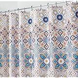 """mDesign Clover Medallion Fabric Shower Curtain for Bathroom - 72"""" x 72"""", Tan Multi"""
