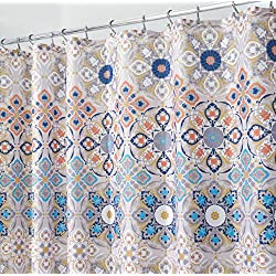 "mDesign Decorative Medallion Print, Easy Care Fabric Shower Curtain with Reinforced Buttonholes, for Bathroom Showers, Stalls and Bathtubs, Machine Washable - 72"" x 72"", Tan/Shades of Blue"