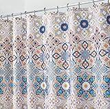 mDesign Clover Medallion Fabric Shower Curtain for Bathroom - 72'' x 72'', Tan Multi