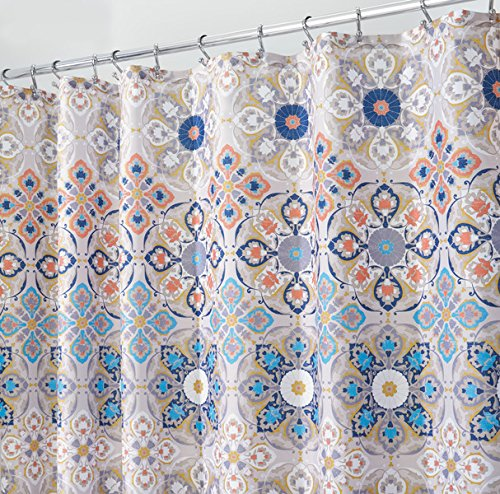 "mDesign Decorative Medallion Print, Easy Care Fabric Shower Curtain with Reinforced Buttonholes, for Bathroom Showers, Stalls and Bathtubs, Machine Washable - 72"" x 72"", Tan/Shades of Blue - PREMIUM QUALITY: The tight weave of the fabric, and superior quality of the polyester yarns provide this curtain with a firm, smooth texture, which promotes water bead formation and is made to withstand damp, moisture rich bathroom environments; Drapes beautifully for a clean fresh look in your bathroom and has a soft hand feel REINFORCED BUTTON HOLES: Reinforced button holes work with most types of shower hooks and rings for quick and simple installation; Top hem is reinforced to hold up to long term use; This shower curtain will compliment any bathroom - use at home, apartment, condo, hotel, camper, RV, dorm, school shower, athletic club, gym and everywhere else you need a reliable shower curtain or liner SIMPLE INSTALLATION: Each curtain contains 12 reinforced buttonholes that fit most standard shower hooks (not included), and the generous size is sure to fit most bathtubs and shower stalls; Machine washable to keep mold and mildew away - shower-curtains, bathroom-linens, bathroom - 61EYCKsfQCL -"