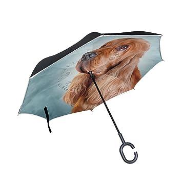 ALAZA La Prueba de Doble Capa Paraguas invertido Coches inversa Paraguas Inglés Cocker Spaniel Perro a