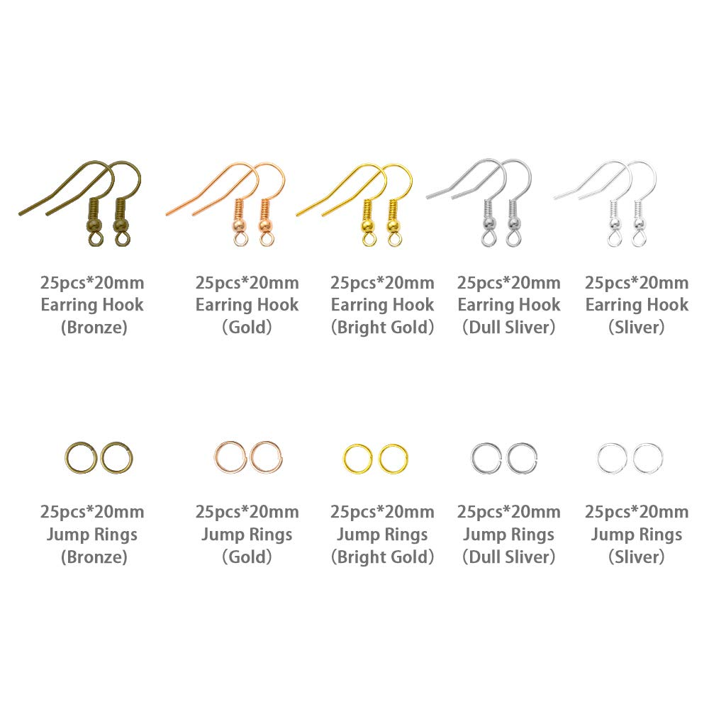 Jump Rings Tweezers PP OPOUNT 1328 Pieces Earring Making Supplies Kit with Earring Hooks Assorted Colors Earring Cards Holder Pliers Jump Ring Opener for Earrings Making and Repairing