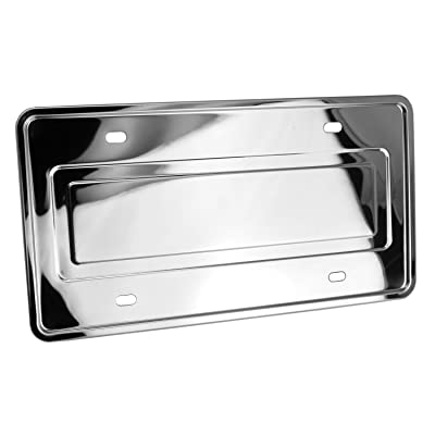LFPartS Stainless Steel License Plate Backing Reinforce Holder/Bracket (Chrome): Automotive
