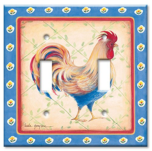 Art Plates - Double Gang Toggle OVERSIZE Switch Plate/OVER SIZE Wall Plate - Jardinere Rooster