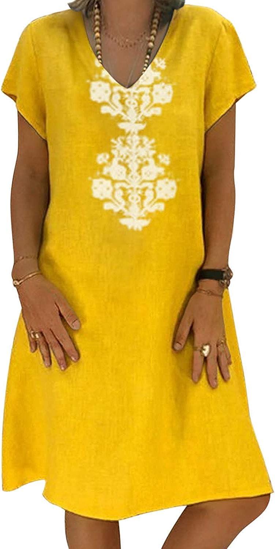 Blue Womens Dress Summer Short Sleeve V Neck Casual Midi Chic Vintage Ethnic Sundress Solid Color Loose Linen Dresses