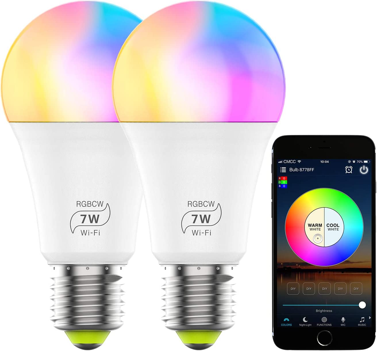 Smart WiFi Light Bulb, Dimmable RGB Color Changing LED Light Bulb 2700K-6500K 60 Watt Equivalent Sync to Music Works with Alexa, Echo, Google Home for Home Decor, Stage, Party(2 Pack)