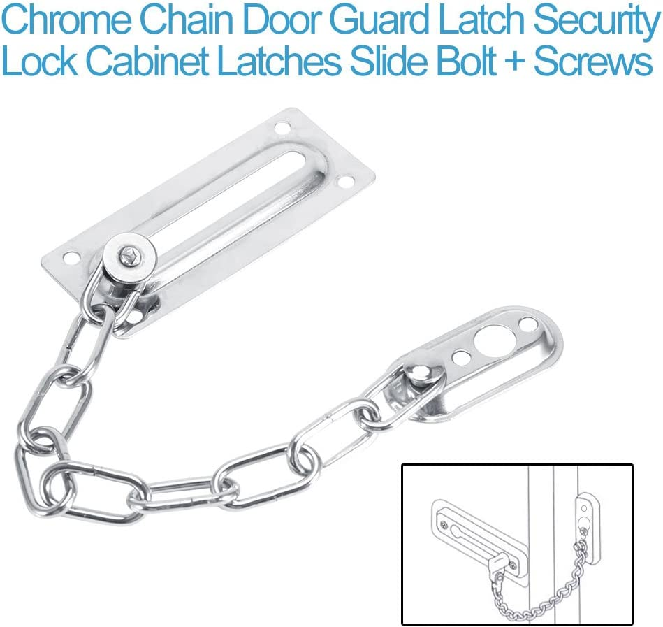 DERCLIVE Stainless Steel Door Chain Safety Guard Security Lock Latch With Screws,Durable and Sturdy,Silver