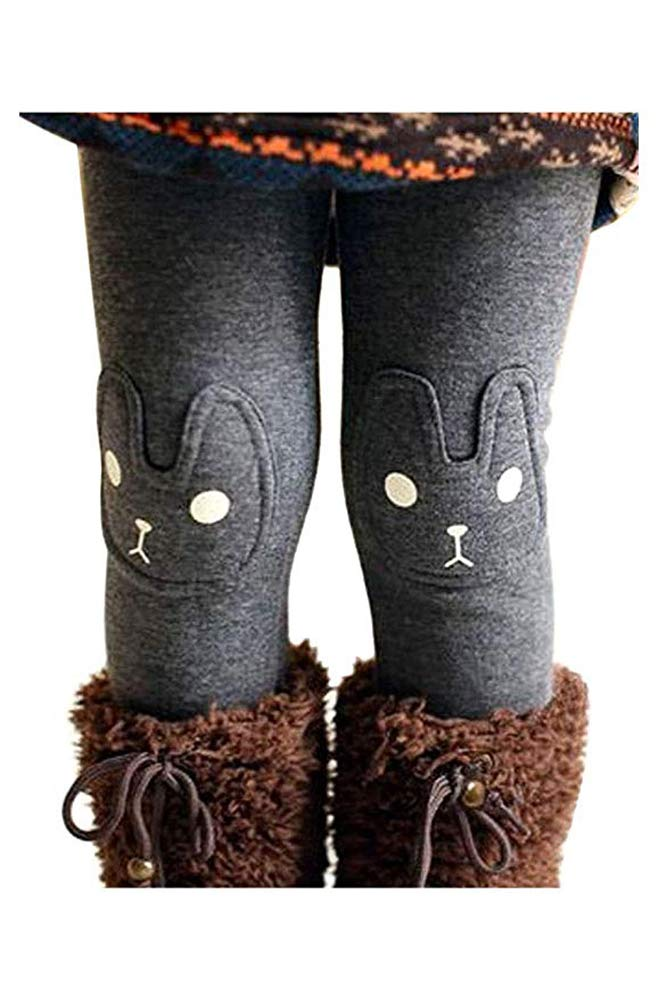 Kids Girls Winter Leggings Bunny Printed Thick Warm Fleece Pants for 2-7 Years