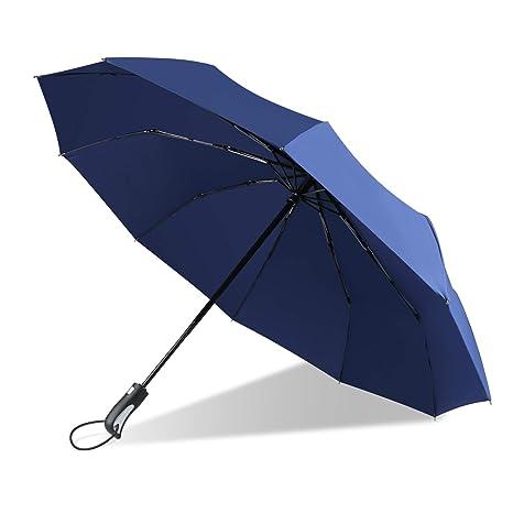 Paraguas, Paraguas Plegable, Apertura y Cierre Automáticos, Marco Reforzado a Prueba de Viento, A Prueba de Tormentas hasta 60 mph, Recubrimiento de ...