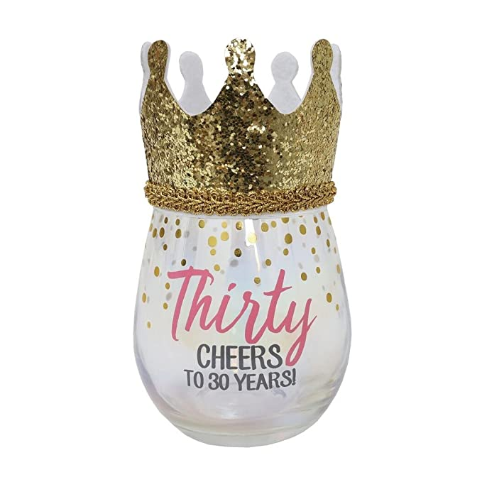 30th Birthday Stemless Wine Glass With Wearable Gold Crown ...