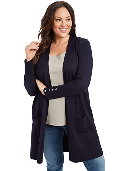 89th Madison Womens Comfy And Cozy Plus Size Duster Cardigan