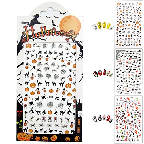 [Halloween Nail Stickers, 3D Nail Tattoo Art Decals Decoration - 3 Sheets] (Trick Or Treat Costumes Images)