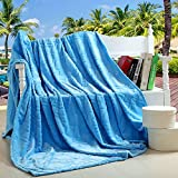 """Bedding Extra Soft Coral Fleece Blanket Lightweight Thickening Throw/Bed Blanket Pure Color Blanket Sky Blue Throw(47""""X79"""")"""