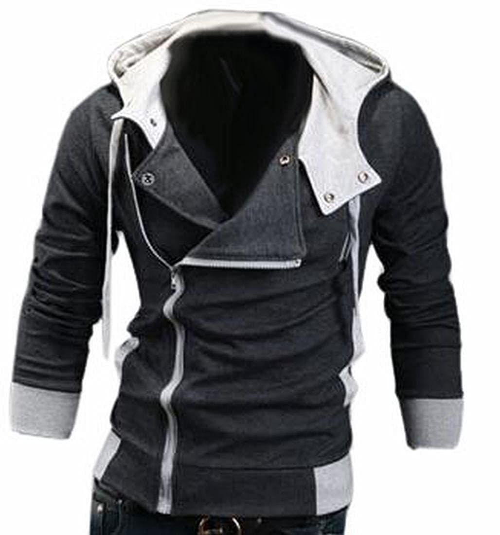 Pivaconis Mens Oblique Zipper Hoodie Casual Hooded Jackets