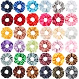 SUBANG 36 Pack Satin Scrunchies Hair Elastics Scrunchies Hair Bands Ties for Women Girls, 36 Colors