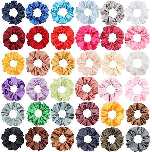 SUBANG 36 Pack Satin Scrunchies Hair Elastics Scrunchies Hair Bands Ties for Women Girls, 36 Colors by SUBANG