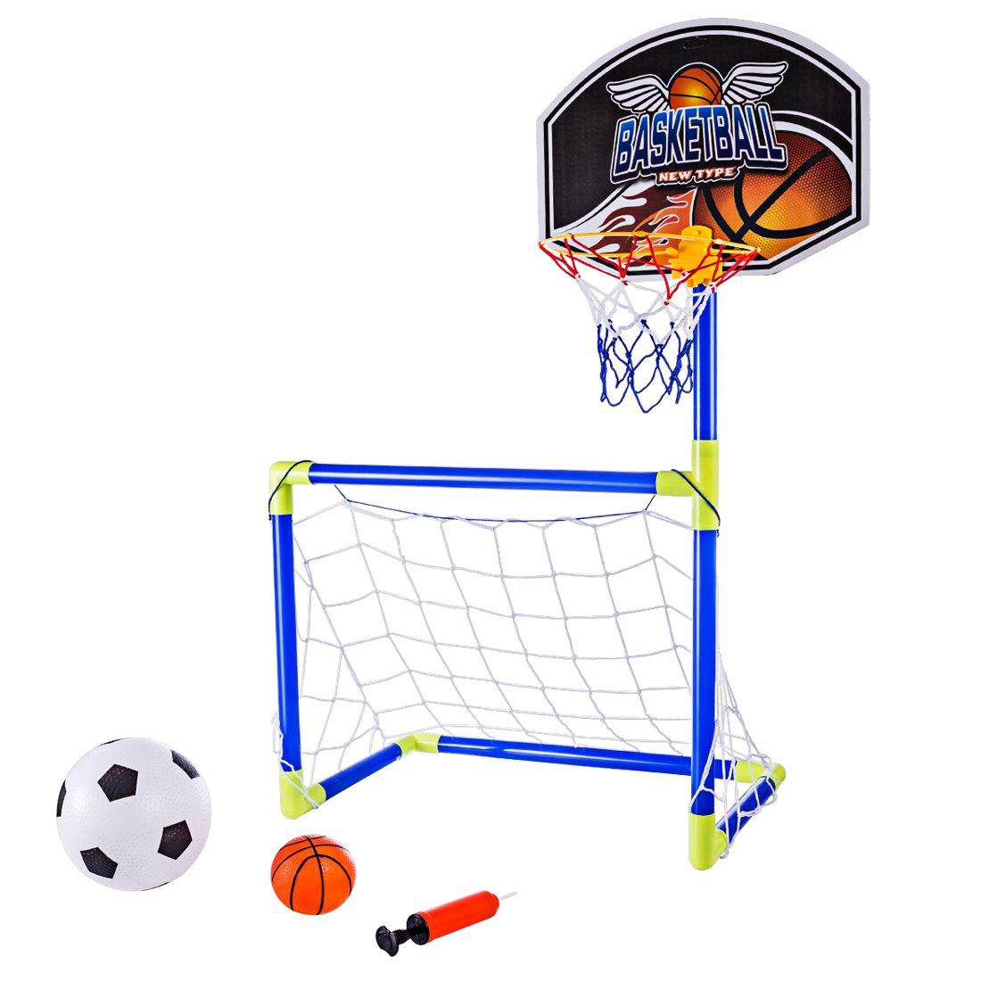DAN DISCOUNTS 90cm 2 in 1 Porta da Calcio e Tabellone Basket - Canestro da Basket Pallone Allenamento per Bambini