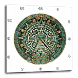 3dRose All Things Mexican - Image of Turquoise And Gold Aztec Calendar - 15x15 Wall Clock (dpp_255501_3)