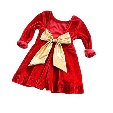 3d1c326850549 Yying Bébé Fille Vêtements Automne Hiver Princesse Fille Robe À Manches  Longues Rouge Parti Robes Enfant De Noël Or Grand Arc Robe  Amazon.fr   Vêtements et ...
