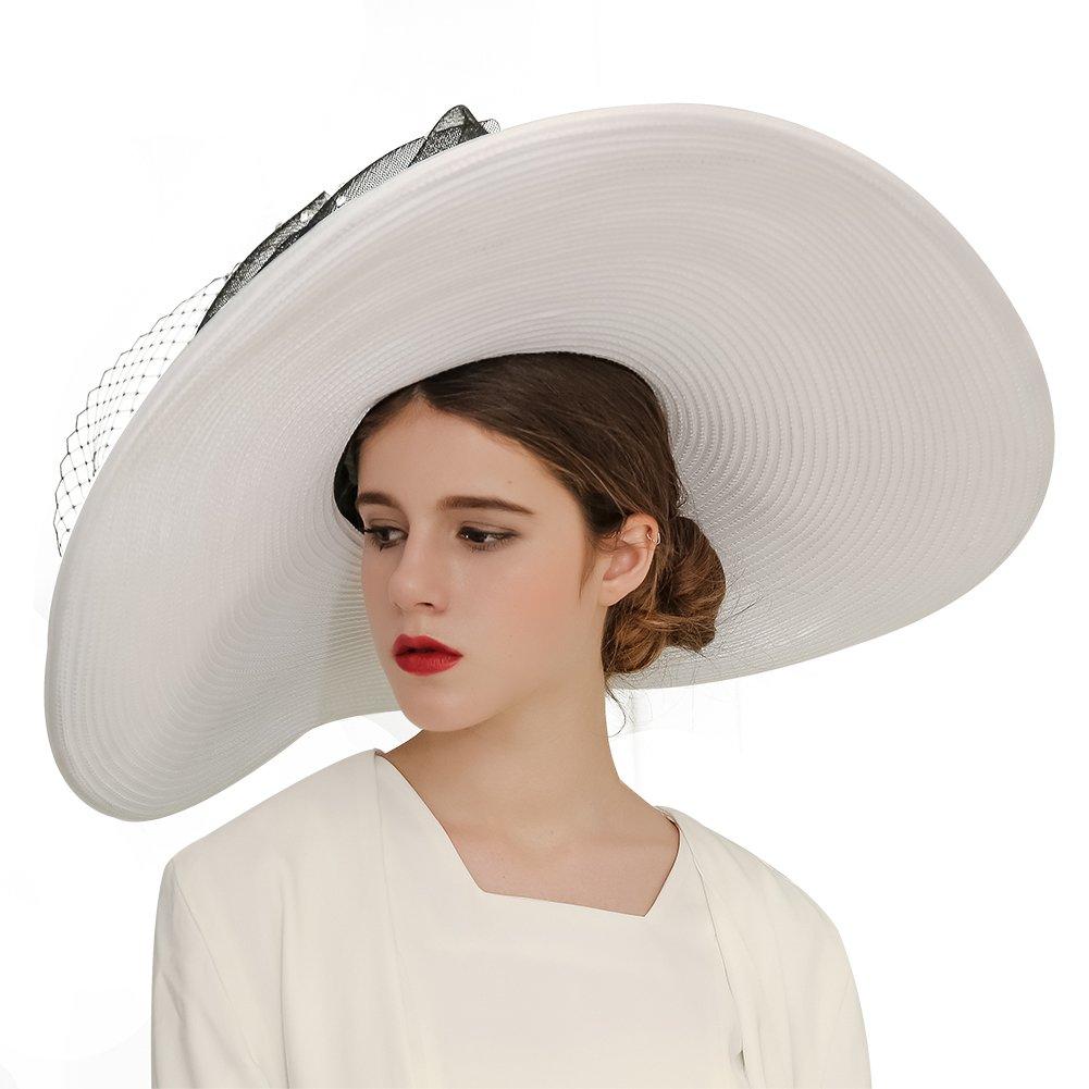 KUEENI Women Hats Church Hats Exaggeration Designer Fashion Lady Wide Brim Hats (White)