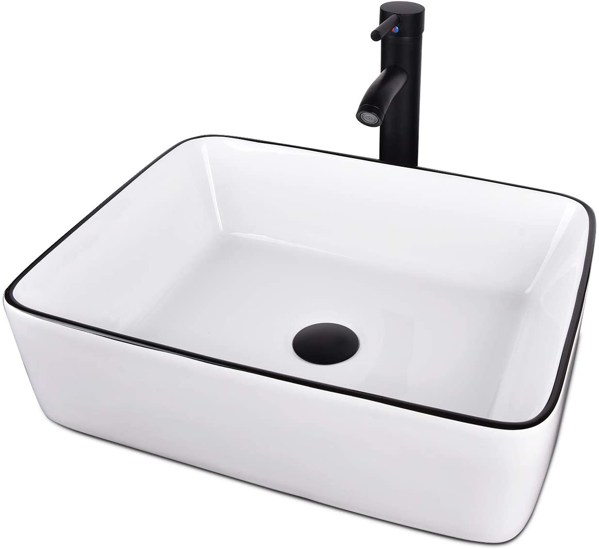 White Ceramic Square Bathroom Sink Vessel Sink Square Amazon Co Uk Diy Tools