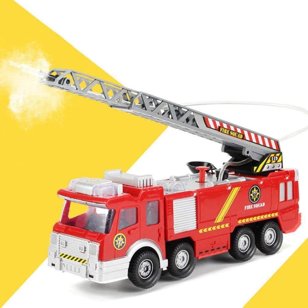 Cestbon Lucha del Coche camión de Juguetes, Mini simulación de camión Escalera de Aire Modelo Modelo Firetruck Juguetes para niños Los niños con música, Omni, Agua pulverizada,Rojo