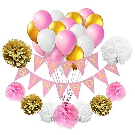 Tankerstreet Juego De Decoración Para Fiesta De Cumpleaños Diseño De Globos De Cumpleaños Diseño De Pompones De Papel Bolas De Abeja Para Fiesta