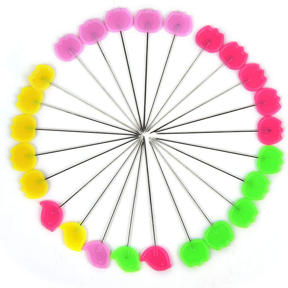 Extra Fine for Dressmaking Jewelry Components Flower Quilting Pins 200Pcs Flat Head Decorative Sewing Pins//Long Straight Pins//Flower Head Pins//Colored Flat Button Pins with A Clear Cases C