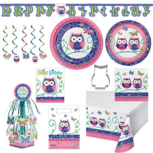 Owls Birthday Party Supply Kit Ultimate Bundle for 16 Guests -