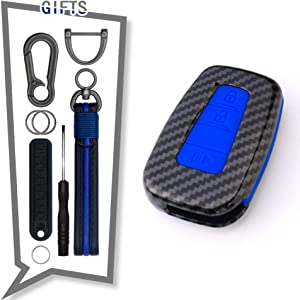 TANGSEN Smart Key Fob Case for Toyota Corolla Hatchback C-HR Prius RAV4 3 Button Keyless Entry Remote Personalized Protective Cover Plastic Carbon Fiber Pattern Blue Silicone