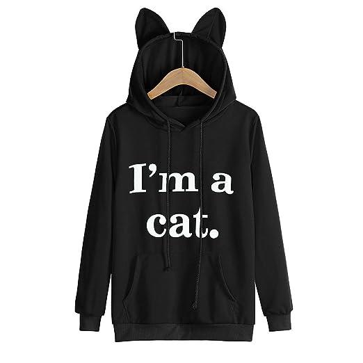 Image Unavailable. Image not available for. Color  Triskye Women s Winter Cat  Ear Hoodie Plus Size Sweatshirt ... 3e76ef1e27