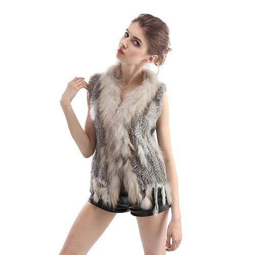 Abrigo tejido de la piel de conejo auténtico para mujer con ribete de la piel de mapache